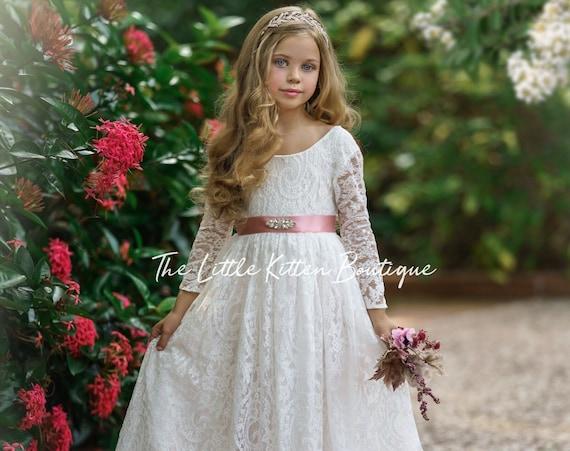 Flower girl dress, Bohemian Flower Girl Dress, rustic flower girl dress, boho flower girl dress, lace flower girl dress, boho wedding dress