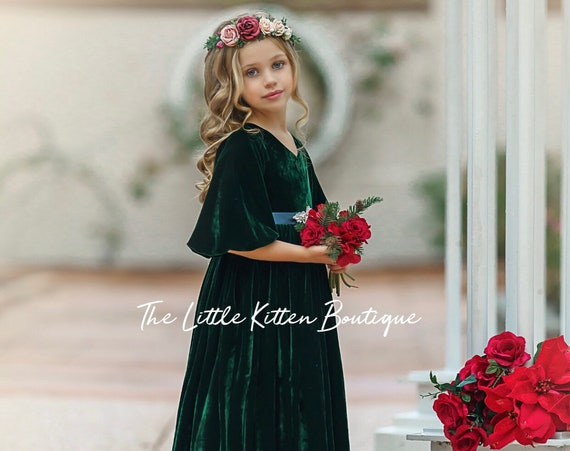 Vintage style holiday dress, Flower Girl Dress, Velvet girls dress, Velvet flower girl dress, Velvet Christmas Dress, Holiday Dress, Vintage