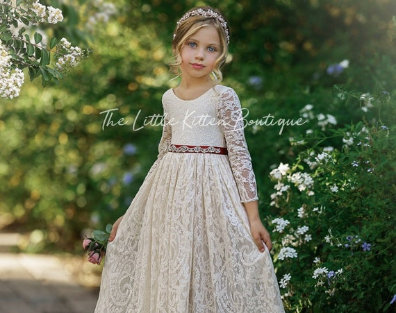 Bohemian flower girl dress, White lace flower girl dress, rustic flower girl dress, boho flower girl dress, Ivory Lace flower girl dresses