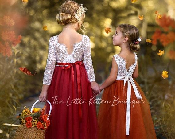 Burnt Orange Flower Girl Dress, Rust Flower Girl Dress, lace flower girl dress, Rustic flower girl dress, Boho Flower Girl Dress, Fall Dress