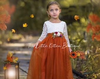 Burnt Orange tulle flower girl dress, Marigold Flower Girl Dress, rustic lace flower girl dress, boho flower girl dress, flower girl dress