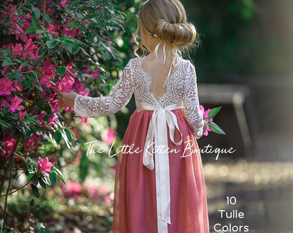 Dusty Rose flower girl dress, flower girl dresses, Burgundy flower girl dress, tulle flower girl dress lace, long sleeve flower girl dress