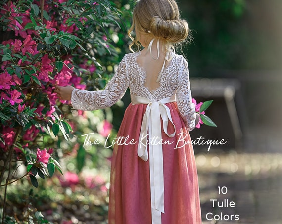 Long sleeve lace and tulle flower girl dress, white lace rustic wedding dress, burgundy girls Christmas dresses, winter flower girl dress