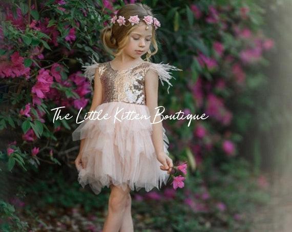 Tulle flower girl dress, Blush Pink flower girl dress, Woodland fairy, Rustic flower girl dress, Boho flower girl dress, fairytale wedding