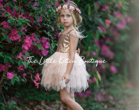 Blush Flower Girl Dress, Tulle flower girl dress, flower girl dresses, princess dress, Rustic flower girl dress, Boho Dress, woodland fairy
