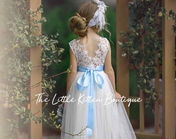 Boho flower girl dress, Tulle Flower Girl Dress, Lace flower girl dress, white flower girl dress, ivory flower girl dress, rustic wedding