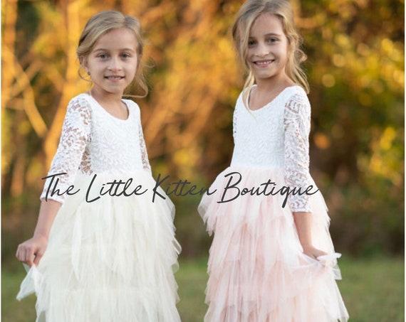 Blush pink tulle flower girl dress, White lace flower girl dress, Rustic flower girl dresses, Ivory Boho flower girl dress, Toddler dress