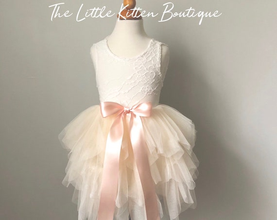 Ivory tulle flower girl dress, White lace flower girl dress, Rustic flower girl dress, Boho flower girl dress, blush punk flower girl dress
