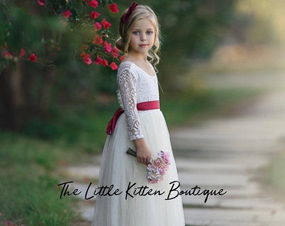 tulle flower girl dress, rustic lace flower girl dresses, long sleeve flower girl dresses, boho flower girl dress, ivory flower girl dress