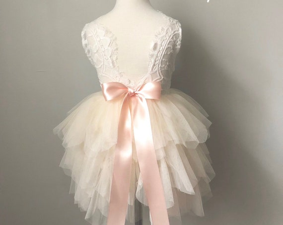 Ivory tulle flower girl dress, White lace flower girl dress, Rustic flower girl dress, Boho flower girl dress, Blush Flower girl dress, tutu