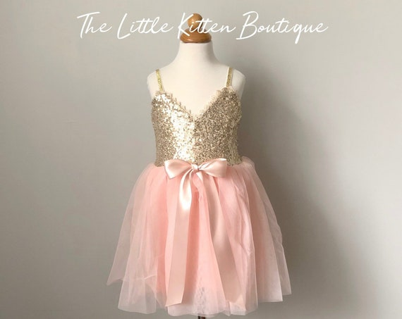 Tulle flower girl dress, Ivory flower girl dress, blush flower girl dress, Rustic flower girl dress, party dress, holiday, sequins dress