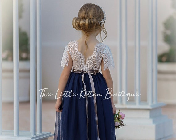 tulle flower girl dress, lace flower girl dress, flower girl dress, boho flower girl dress, rustic flower girl dress, Navy flower girl dress