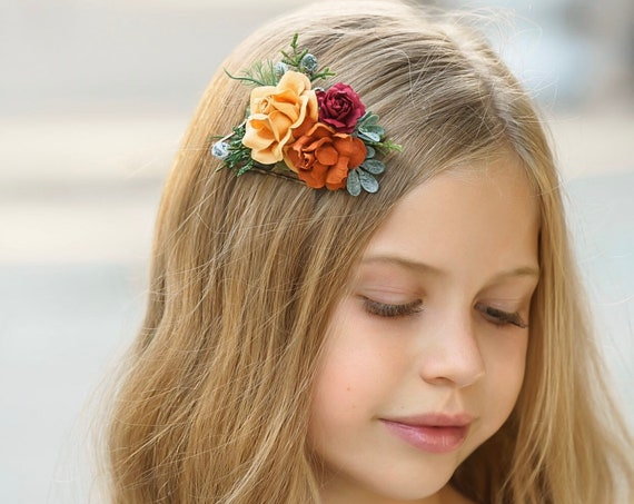 Burnt orange hair comb, wedding comb, hair comb, wedding hair accessories, rose flower crown, wedding hair accessories, bridal hair piece