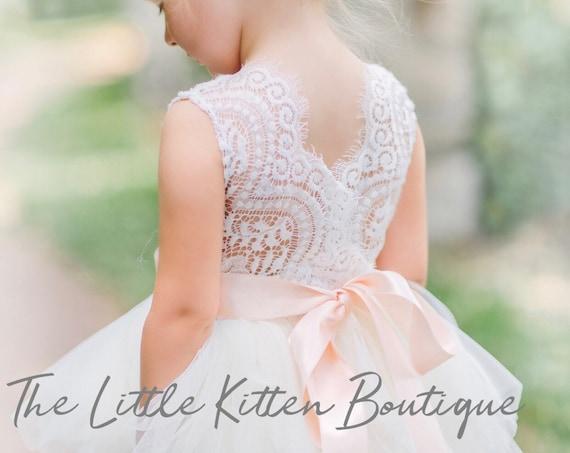 Flower Girl Dress, tulle flower girl dress, white flower girl dress, ivory flower girl dress, blush flower girl dress, lace flower girl
