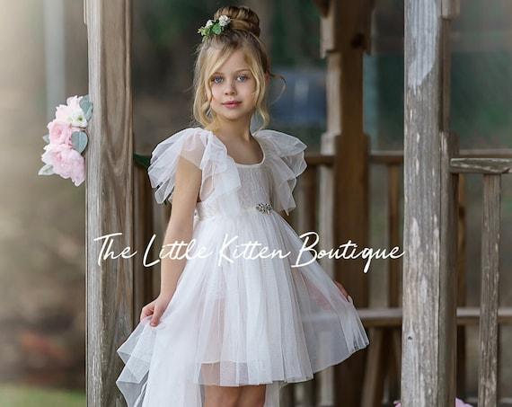 tulle flower girl dress, rustic lace flower girl dresses, blush flower girl dresses, boho flower girl dress, ivory flower girl dress, tiara