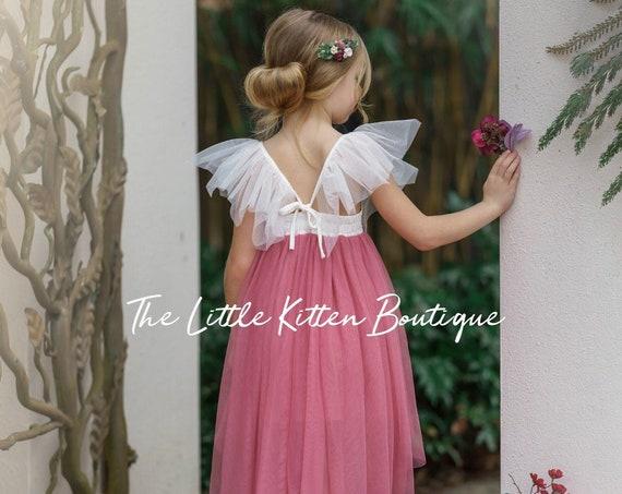Dusty Rose tulle flower girl dress, high low lace flower girl dress, blush flower girl dress, boho, ivory flower girl dress, tulle dress