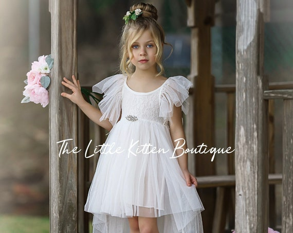 tulle flower girl dress, rustic lace flower girl dresses, bohemian flower girl dresses, boho flower girl dress, ivory flower girl dress