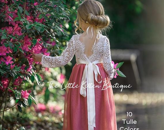 tulle flower girl dress, lace flower girl dress, Rustic flower girl dress, Boho flower girl dress, Toddler dress, fall flower girl dress