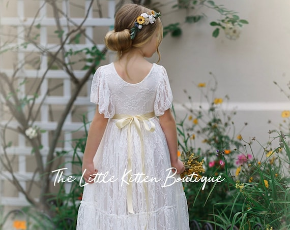 lace flower girl dress, flower girl dress, bohemian flower girl dress, boho flower girl dress, ivory flower girl dress, flower girl dresses