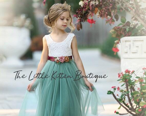 Ivory flower girl dress, tulle flower Girl dress, boho flower girl dress, Rustic lace flower girl dress, blue flower girl dress, flower girl