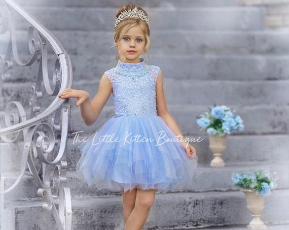 tulle flower girl dress, lace flower girl dresses, pageant dress, blue flower girl dress with train, beaded girls party dress, Ball gown