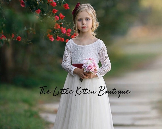 Flower girl dress, Tulle Flower girl dress, Lace flower girl dress, ivory flower girl dress, bohemian flower girl dress, girls tulle dress