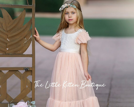 Flower girl dress, lace flower girl dress, bohemian flower girl dress, boho, tulle flower girl dress, ivory flower girl dress, wedding dress