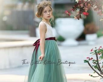 Flower Girl Dress, Tulle flower girl dress, ivory flower girl dresses, Rustic lace flower girl dress, Boho flower girl dress, Fall Wedding