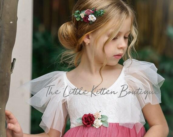 Ivory Flower girl dress, Tulle flower girl dress, flower girl dress, lace flower girl dress, Boho flower girl dress, high low dress, wreath