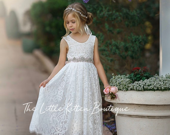 flower girl dress, Lace Flower Girl Dress, flower girl dresses, boho flower girl dress, bohemian, Ivory Flower Girl Dress, wedding dress