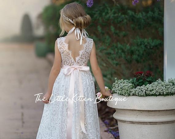 Bohemian flower girl dress, White lace flower girl dress, rustic flower girl dress, boho flower girl dress, White Lace dress, flower girl