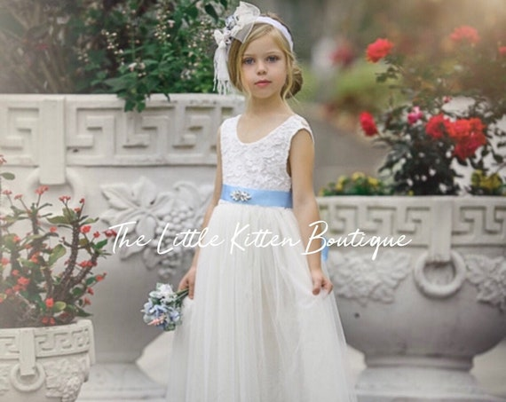 White flower girl dress, Ivory Flower Girl dress, rustic lace flower girl dress, flower girl dresses, boho flower girl, communion dress