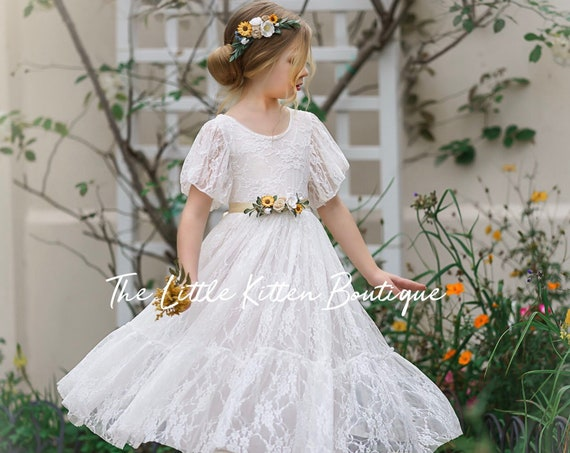 Bohemian Flower girl dress, Tulle flower girl dress, flower girl dress, rustic lace flower girl dress, Ivory flower girl dress, lace dress