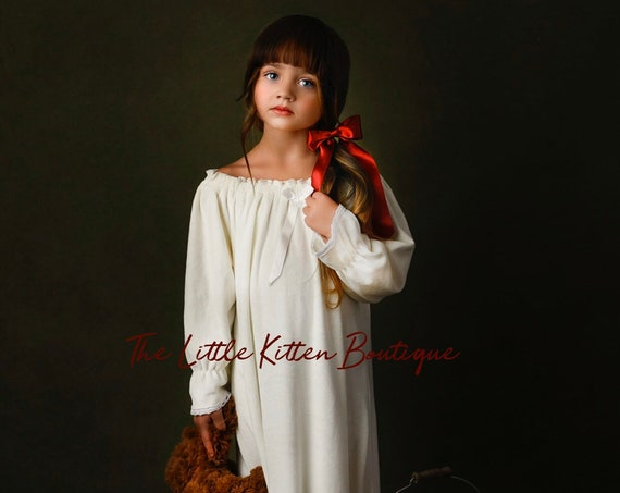 Old fashioned girls nightgown, Christmas Nightgown, Christmas Pajamas, PJs, Nutcracker, Clara, Girls Vintage Style Nightgown, Antique White