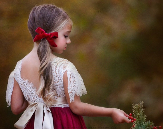 Holiday Dress, Christmas Dress, Tulle flower girl dress, rustic lace flower girl dress, flower girl dress, boho flower girl dress, velvet