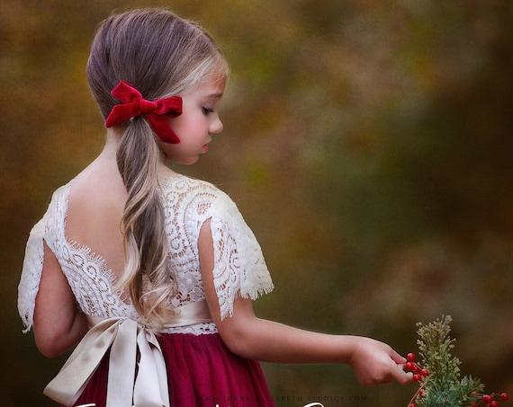 tulle flower girl dress, rustic lace flower girl dresses, flower girl dress, boho flower girl dress, ivory flower girl dress, Dusty Rose