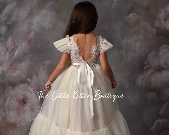 tulle flower girl dress, rustic lace flower girl dresses, beach flower girl dress, boho flower girl dress, ivory flower girl dress, bohemian