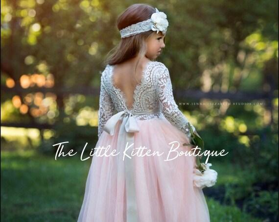 Tulle flower girl dress, long sleeve flower girl dresses, rustic flower girl dress, bohemian flower girl dress, lace flower girl dress, boho