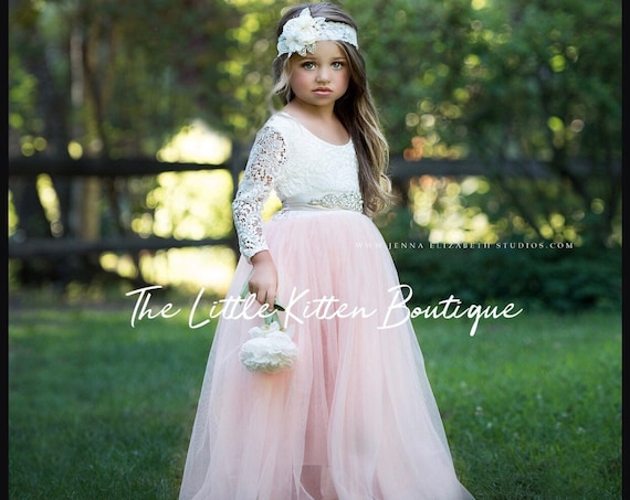 Flower girl dress, Tulle flower girl dress, long sleeve flower girl dress, lace flower girl dress, Boho flower girl dress, ivory flower girl