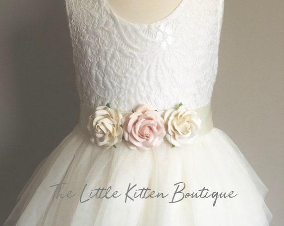 Flower girl dress, tulle flower girl dress, ivory flower girl dress, blush flower girl dress, boho flower girl dress, rustic lace dress