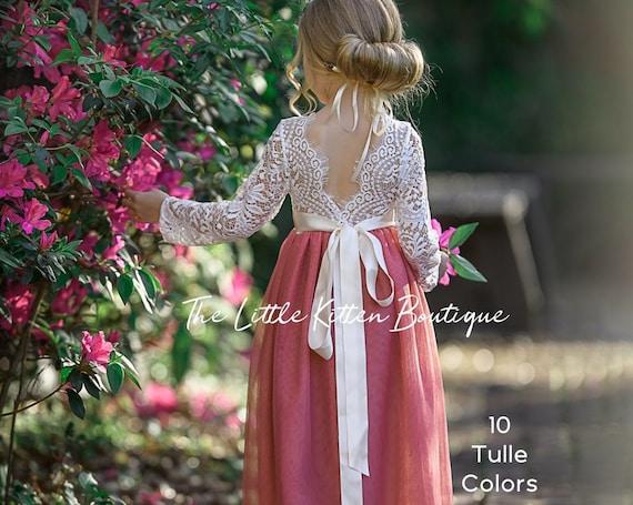 Tulle flower girl dress, White lace flower girl dress, Burgundy flower girl dresses, Ivory Boho flower girl dresses, Girls Christmas Dress