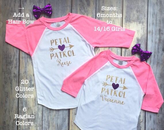 Flower Girl Shirt, Petal Patrol Shirt, Flower Girl Shirts, Gifts for bridal party, gifts for flower girl, raglan flower girl shirts