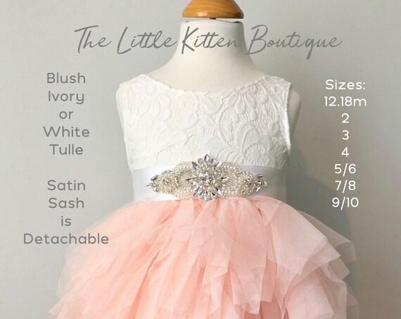 Tulle Flower Girl Dress, Ivory Flower Girl Dresses, Boho Flower Girl Dress, Rustic Lace Flower Girl Dress, Pink Blush Flower girl dress