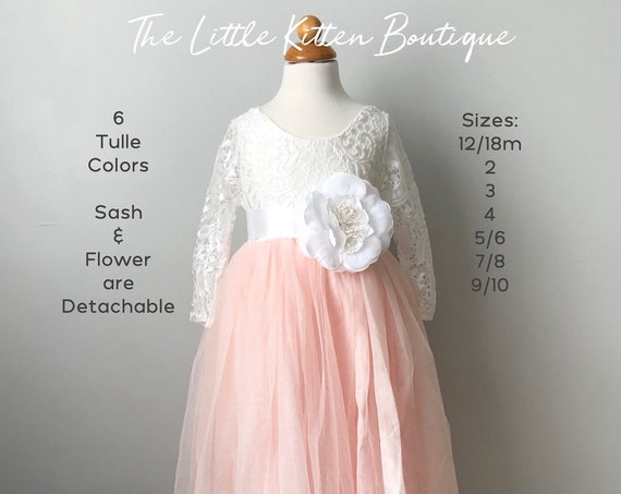 Flower Girl Dress, Blush pink tulle flower girl dress, White lace flower girl dress, Rustic flower girl dress, Wedding Dress, Toddler Dress