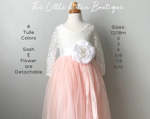 lace flower girl dress, tulle flower girl dress, long sleeve flower girl dress, Rustic lace flower girl dress, Ivory Flower Girl Dress,