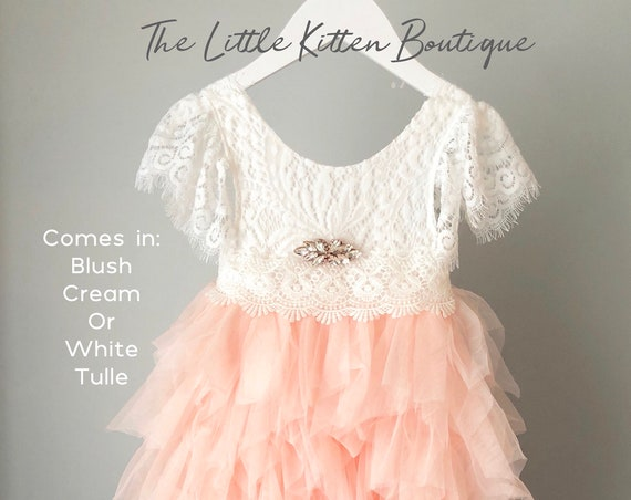 Blush pink tulle flower girl dress, White lace flower girl dress, Rustic flower girl dress, Lace Flower Girl Dress, lace wedding Dress, tutu