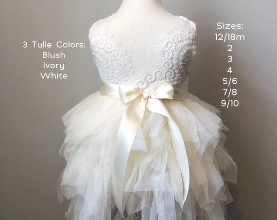 Ivory tulle flower girl dress, Lace flower girl dress, White flower girl dress, girls birthday dress, lace country flower girl dress