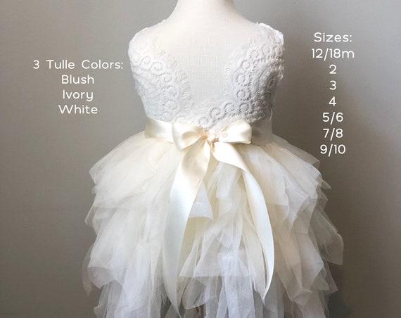 Ivory Flower Girl Dress, Tulle Flower Girl Dress, Pink Flower Girl Dress, Blush Flower Girl Dress, Rustic Lace Flower Girl Dresses, tutu