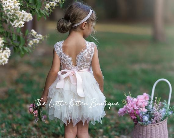 Tulle Flower Girl Dress, Ivory Flower Girl Dress, White Lace Flower Girl Dress, blush flower girl Dress, boho flower girl dresses, birthday