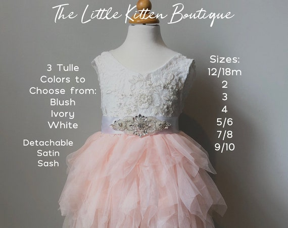 Tulle Flower Girl Dress, Ivory Flower Girl Dress, Pink Blush Flower Girl Dress, Lace Flower Girl Dress, Rustic Country Flower Girl dress